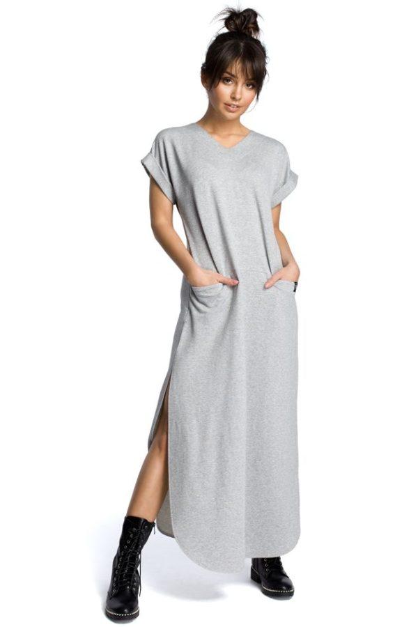 Maxi Dress with Side Splits in Grey