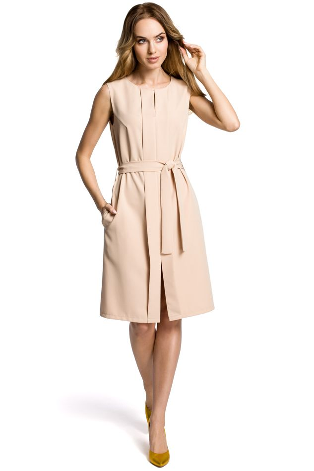 Sleeveless Dress with A Front Pleat in Beige