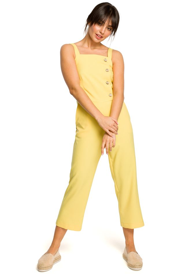 Wide Strap Jumpsuit in Yellow
