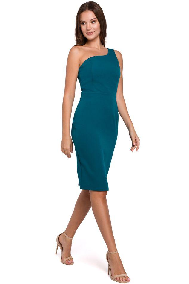 Sheath Dress with A One Shoulder Neckline in Ocean Blue