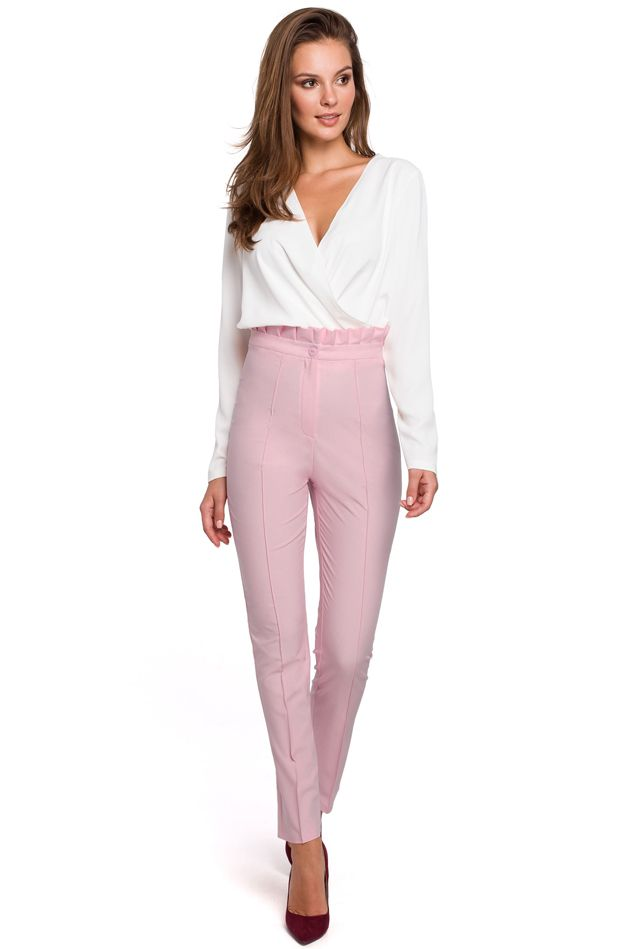 High Waist Trousers with Ruffled Belt in Lilac