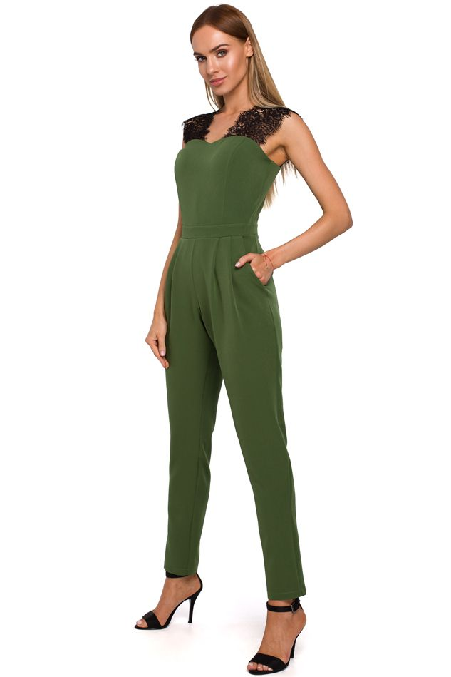 Jumpsuit with Lace Straps in Green