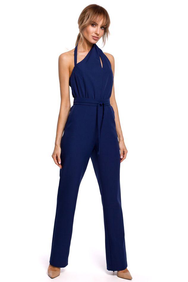 Elegant Jumpsuit with Asymmetric Neckline in Navy Blue