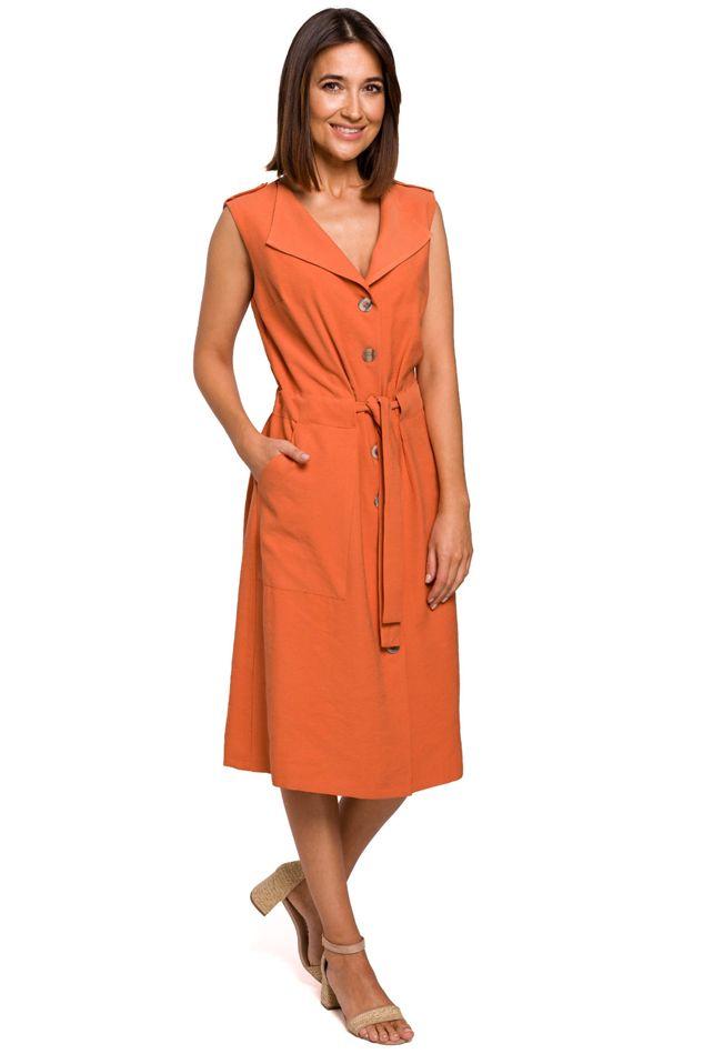 Sleeveless Shirt Dress in Orange